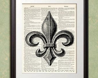 French FLEUR De LIS 3 Paris Dictionary Art Print Poster Enlargement 10x13 or 11x14 or 12x15 Home Decor Wall Decor