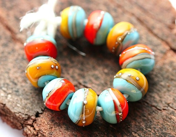 Handmade glass lampwork beads in orange, yellow and blue - SRA set, bright, by MayaHoney