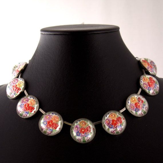 Tremendous Art Deco necklace French 1930s Floral jewelry Mounted under Glass Not To be Missed Out