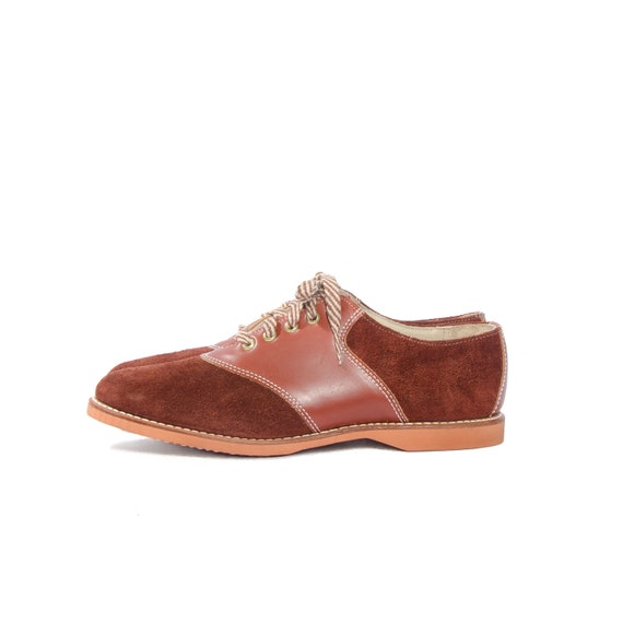 Vintage Saddle Shoes School Girl Burnt Sienna 50s Oxfords Suede and Leather Women size 8 Narrow