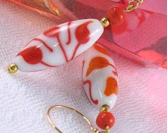 Lampwork Bead Earrings - Tangerine and Red Flowers on White - Neon - Gifts under 15