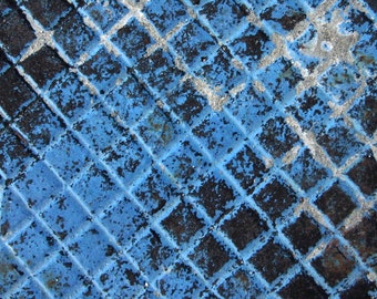 Blue and Black Metal Corrosion, Rust, City Abstract Original Signed Print by Photographer, Guy Pushée