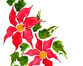 Handpainted Greeting Cards, Set of 10, Christmas cards set, Original Watercolor Art, red poinsettias, green and red, Happy Holidays,