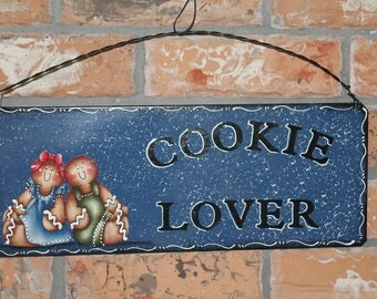 Gingerbread Kitchen Metal Sign..Kitchen Decor..Country Blue...Ginger Collector..Cookie Lover