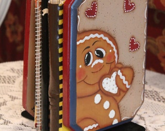 Gingerbread Book Ends...Handpainted....Kitchen Decor...Cookbooks... Ginger Collector
