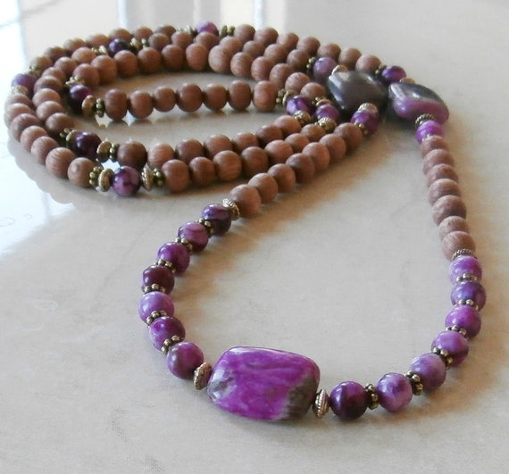 Intuition Sugilite 108 Mala Necklace or bracelet with Natural Rosewood, meditaiton Mala, Yoga bracelet,Reiki charged, Free shipping