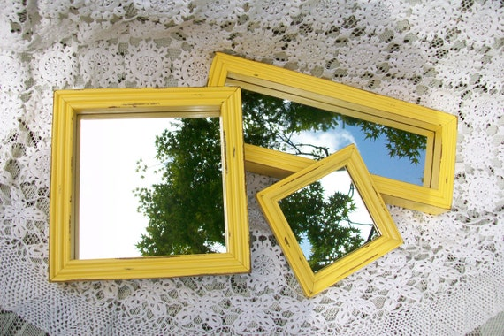 Vintage Mirror Collection, Small Mirrors, Accent Mirrors, Set of 3 Wall Mirrors with Yellow Frames, Shabby Chic, French Country Decor
