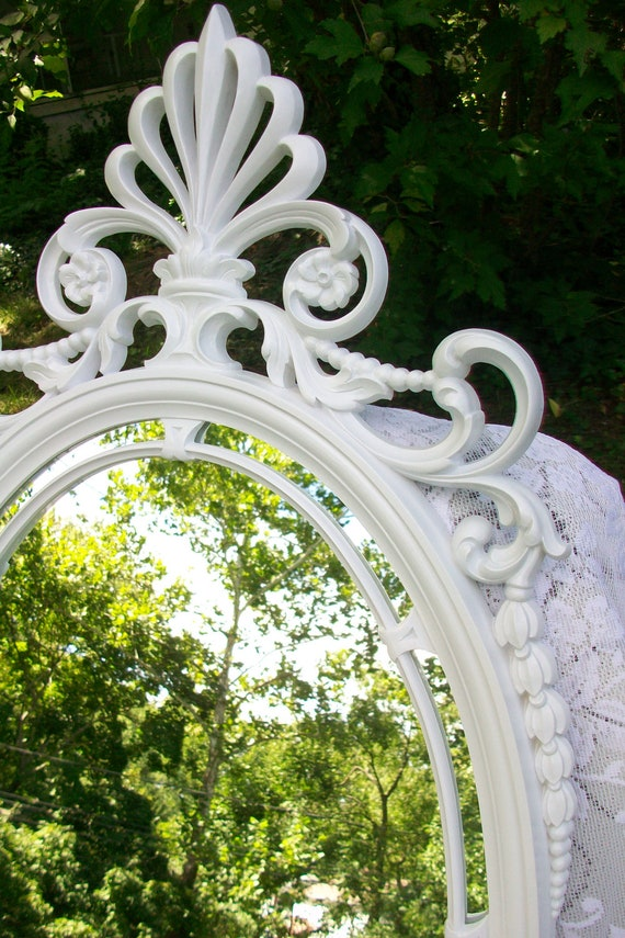 Large Vintage Mirror, Syroco Wall Mirror, Ornate Mirror, Oval Mirror, White Mirror, Nursery, Wedding, Hollywood Regency Decor