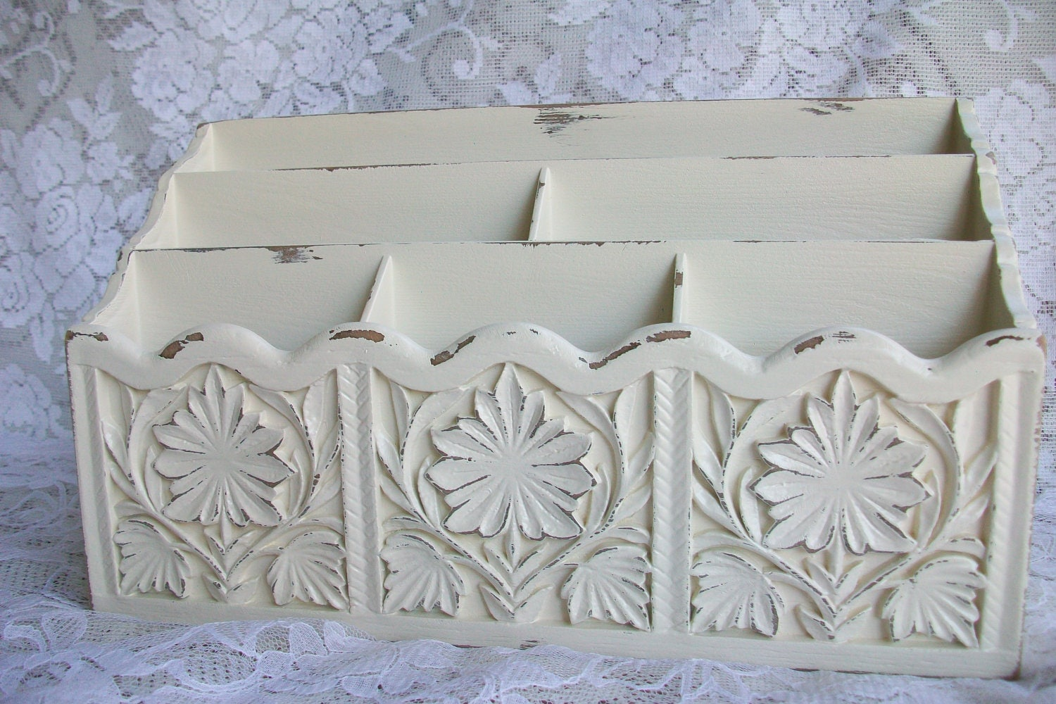 Shabby Chic Decor Vintage Desk Organizer Bills Letter