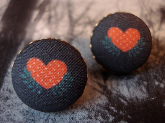 Fabric Button Earrings Folk Art Heart Posts