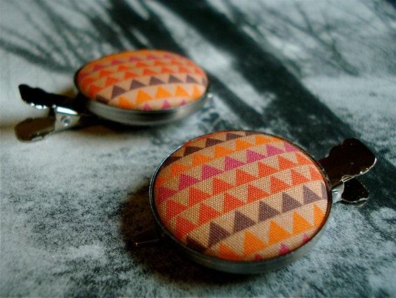 SALE Triangle Fabric Button Hair Clip  Summer Camp Chic Set of 2