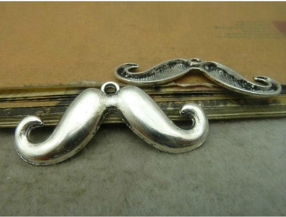10 pcs 44x18mm antique silver mustache beards with one loops Charms Pendants fc90275
