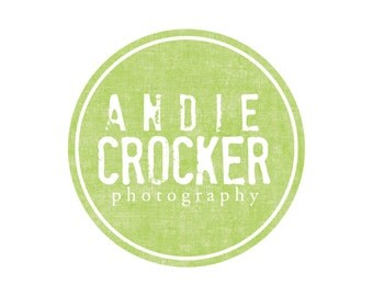 Premade Logo Design for Photographers and Small Crafty Boutiques Green Rustic Stamp