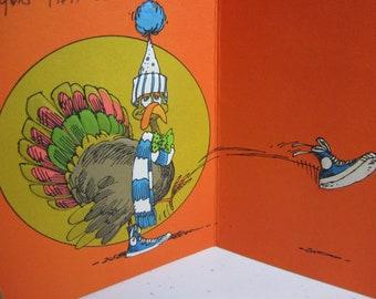 1970's embossed large thanksgiving card humorous pilgrim and turkey graphics Hallmark