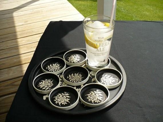 vintage Black Metal Tray/Coaster Set - white florals on black - Retro serving chic