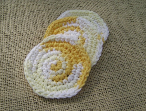 Crochet Cotton Face Scrubby Facial Scrub Pad  Yellow and White Set of 3
