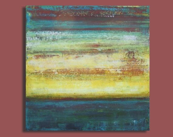 Large Abstract Seascape Painting in Yellow and Slate Blue - Ocean of Dreams (24x24) Original Acrylic Wall Decor - Sage Mountain Studio
