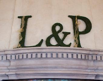 Moss Covered Monogram Letters - Moss Wedding Monogram Ampersand Letter Set - ( 20 inches )
