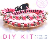 wrap bracelet DIY KIT: leather and rhinestone bracelet materials and tutorial - pink & brown leather