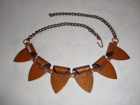 Vintage Copper Necklace Choker Arrow Points Triangles