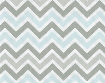 Gray and Mist Blue Chevron Contour Changing Pad