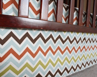 Woodland Chevron Straight Crib Skirt