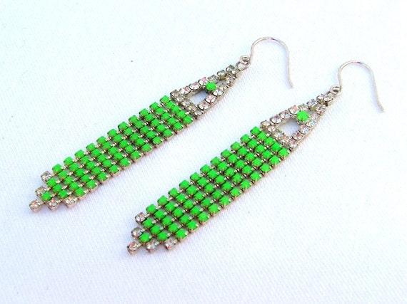 Neon Glow in the Dark Vintage Chandelier Earrings with Hand Painted Rhinestones - Ooak