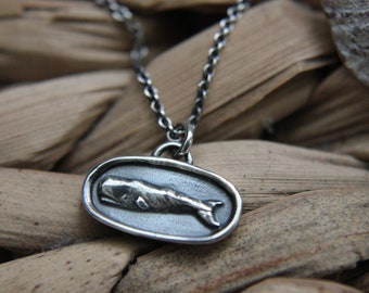 Tiny Sterling Silver Whale Pendant--Wear Moby Dick