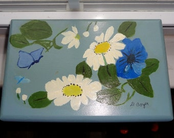 Beautiful Cottage Chic Hand Painted Blue Wooden Box