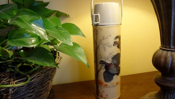 RESERVED FOR JULIE Thermos, Large, Vintage Made By Bacova Guild with Hand Painted Quail Signed G.G.