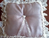 Handmade beige / fawn satin Bridal  ring pillow lace edge