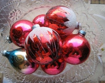 8 Red Vintage Shiny Brite Christmas Balls
