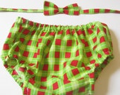 Boy Christmas Outfit for Photos, Red and Green Plaid Bow Tie and Diaper Cover