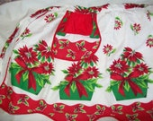 Vintage Poinsettia & Holly Holiday Print Apron