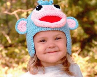 PDF Crochet Monkey Hat Pattern - Crochet Look A Like Character Monkey Hat  (7324) Td creations