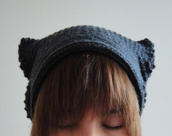 Cat Ear Beanie in Dark Grey, Crochet Hat, Women Hat, Cat Ears, Winter Accessories, Hand Crocheted Hat, Unique 2 Sides Hat,