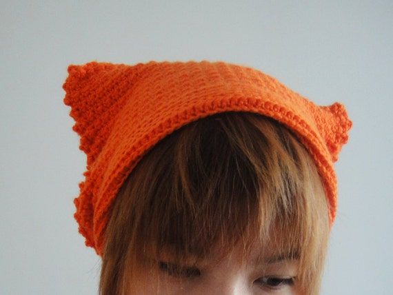 Cat Ear Beanie Cat Ears Women Hat Hand Crocheted Hat