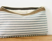 Day to Night Clutch in Blue and White Stripe Ticking Fabric