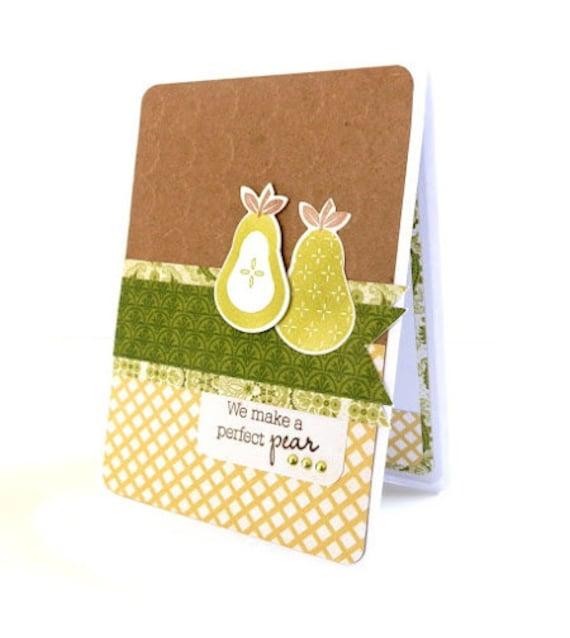 Kraft Anniversary Love Card - 'We Make A Perfect Pear' - Pear Handmade Greeting Card