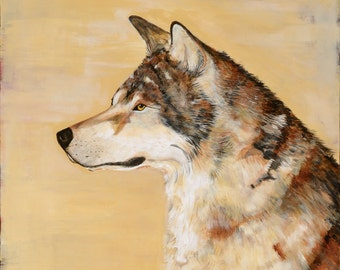 Now available, archival quality print of my original Wolf painting I See You, painted in warm color palate, earth tones, size 16x20