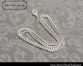 SOJ-019: Set of 10 - 18 inch Silver 1mm Ball Chain Necklaces