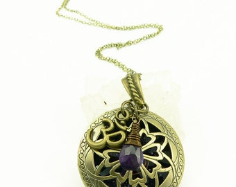 Orgone Energy Locket - Antique Bronze - Celtic Flower Filigree Design - Amethyst Gemstone - Om - Artisan Jewelry
