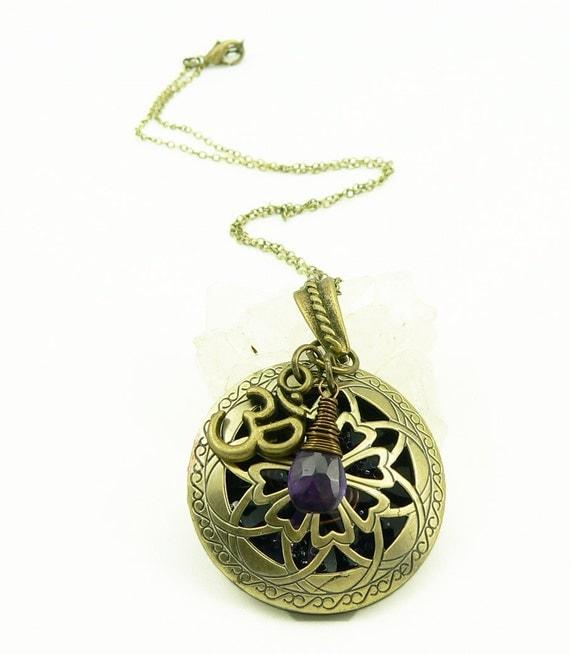 Orgone Energy Locket - Antique Bronze - Celtic Flower Filigree Design - Amethyst Gemstone - Om - Artisan Jewelry
