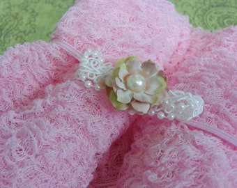 Posh and Pretty Collection...Petite Pink Flower Headband...Baby Bows...Photography Prop...Baby Girl Headband...Cheesecloth Wrap