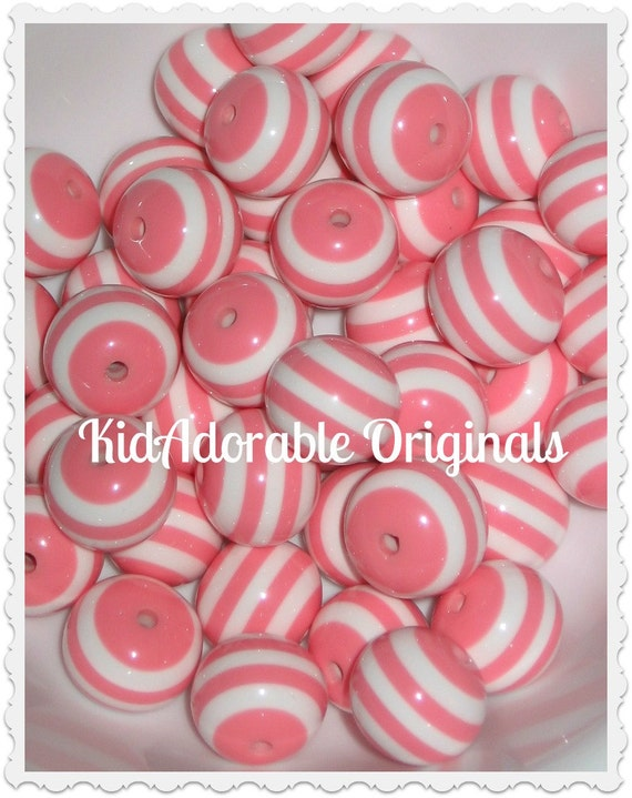 6 Pieces 20 mm PINK Striped Resin Gumball Chunky Beads