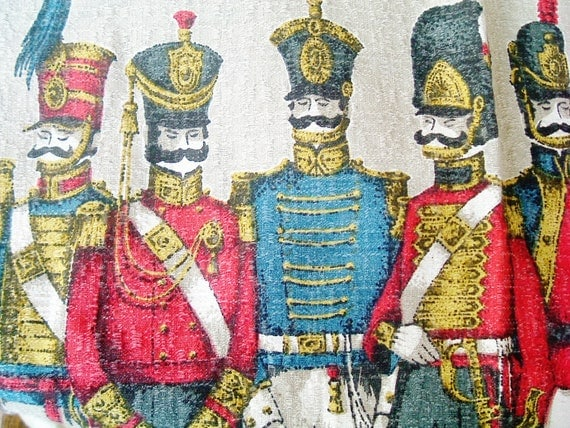 Vintage 1950s linen English soldier or hussar linen curtains for boys room or upcycling to cushions
