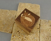 Wood Ring Box with inlaid Fox.  Free Shipping and Engraving.  RB23