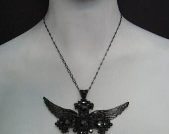 Flying Cross Black Plated  with Hematite swarovski Crystal  Cross Necklace