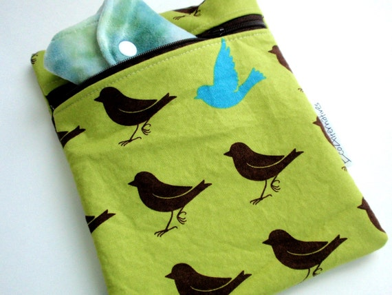 Small wet bag Olive green with brown and blue birds