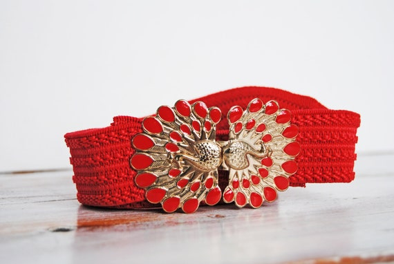 Vintage Red and Gold Peacock Elastic Stretchy Belt